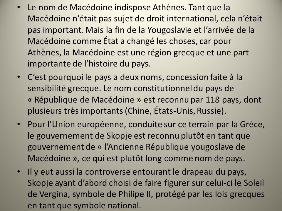 Le nom de Macédoine indispose Athènes