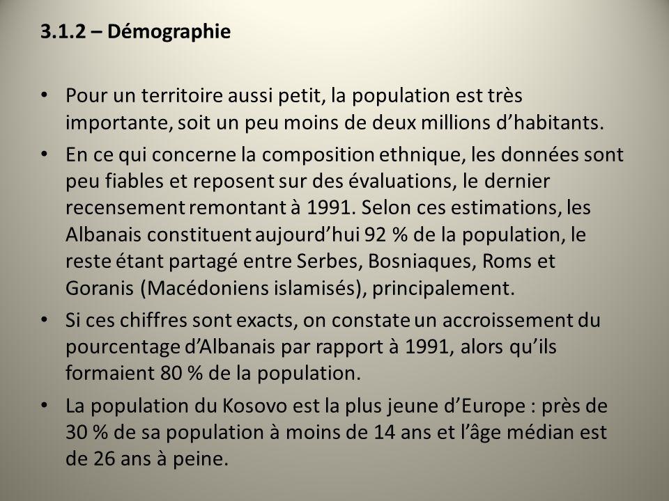 3.1.2 – DémographiePour un territoire aussi petit, la population est très importante, soit un peu moins de deux millions d'habitants.