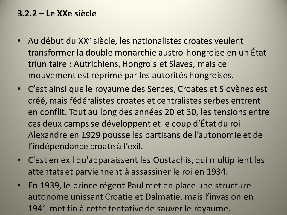 3.2.2 – Le XXe siècle