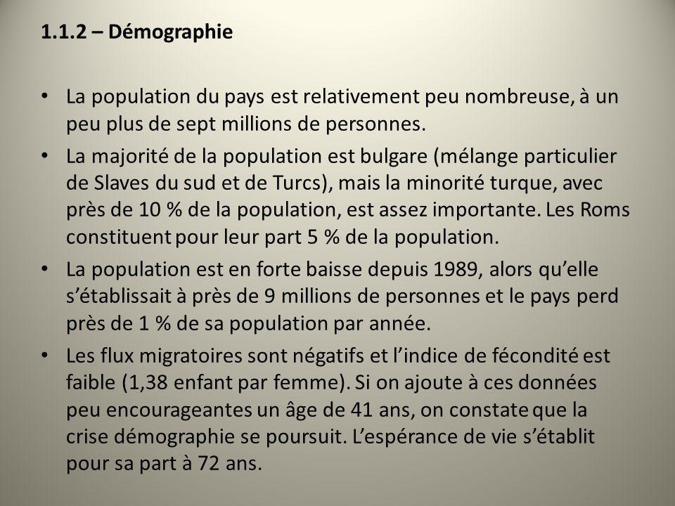 1.1.2 – Démographie La population du pays est relativement peu nombreuse, à un peu plus de sept millions de personnes.