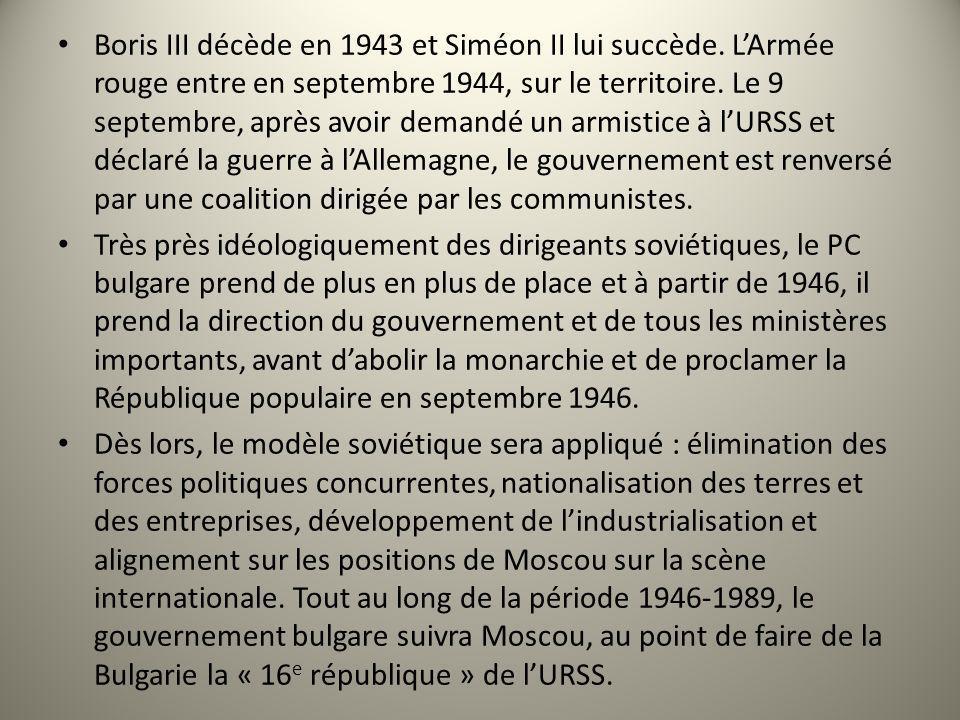 Boris III décède en 1943 et Siméon II lui succède