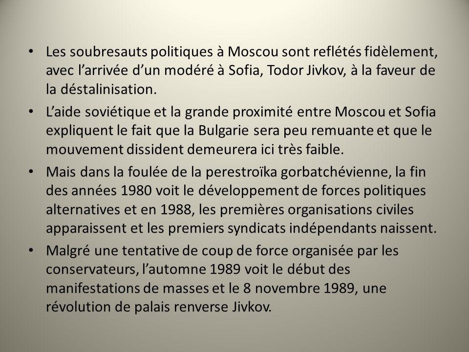 Les soubresauts politiques à Moscou sont reflétés fidèlement, avec l'arrivée d'un modéré à Sofia, Todor Jivkov, à la faveur de la déstalinisation.