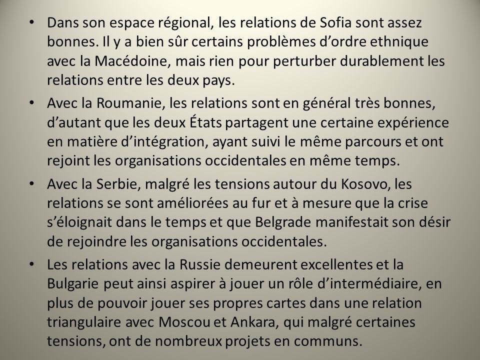 Dans son espace régional, les relations de Sofia sont assez bonnes