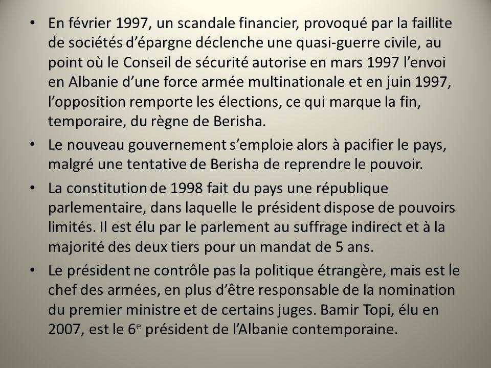 En février 1997, un scandale financier, provoqué par la faillite de sociétés d'épargne déclenche une quasi-guerre civile, au point où le Conseil de sécurité autorise en mars 1997 l'envoi en Albanie d'une force armée multinationale et en juin 1997, l'opposition remporte les élections, ce qui marque la fin, temporaire, du règne de Berisha.