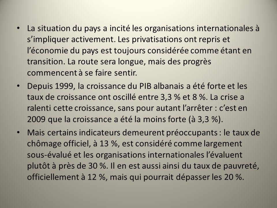 La situation du pays a incité les organisations internationales à s'impliquer activement. Les privatisations ont repris et l'économie du pays est toujours considérée comme étant en transition. La route sera longue, mais des progrès commencent à se faire sentir.