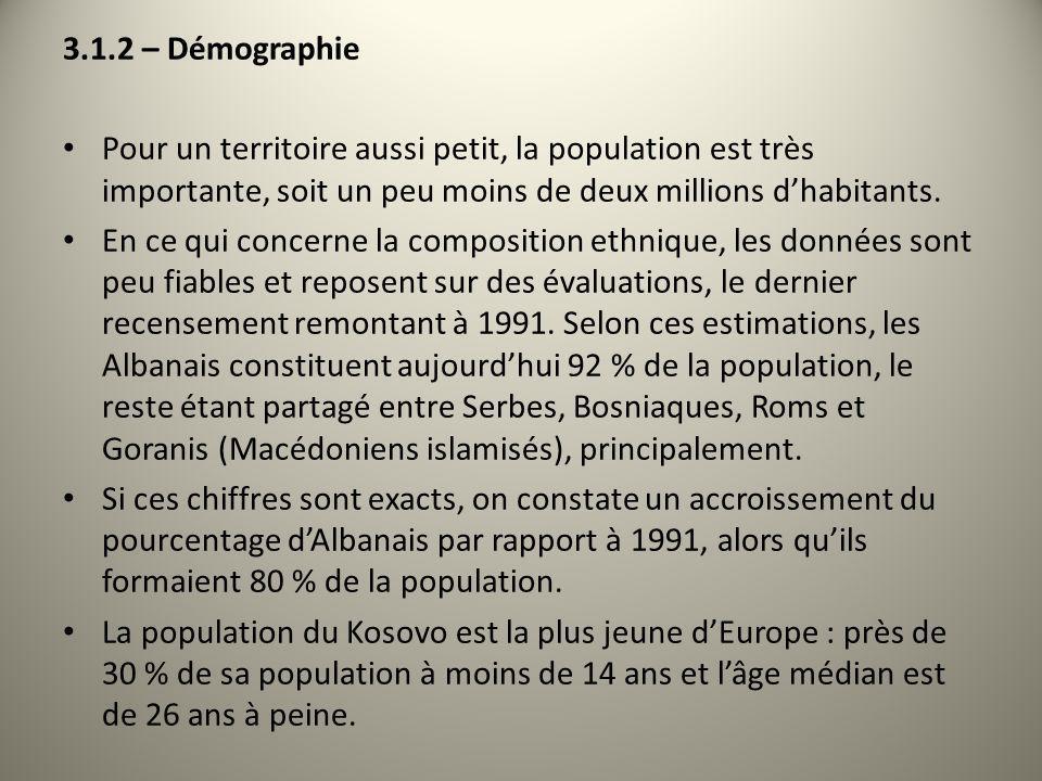 3.1.2 – Démographie Pour un territoire aussi petit, la population est très importante, soit un peu moins de deux millions d'habitants.