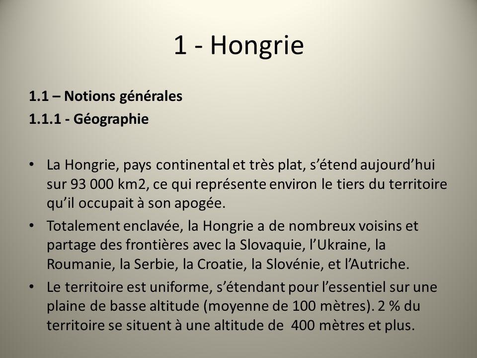 1 - Hongrie 1.1 – Notions générales 1.1.1 - Géographie
