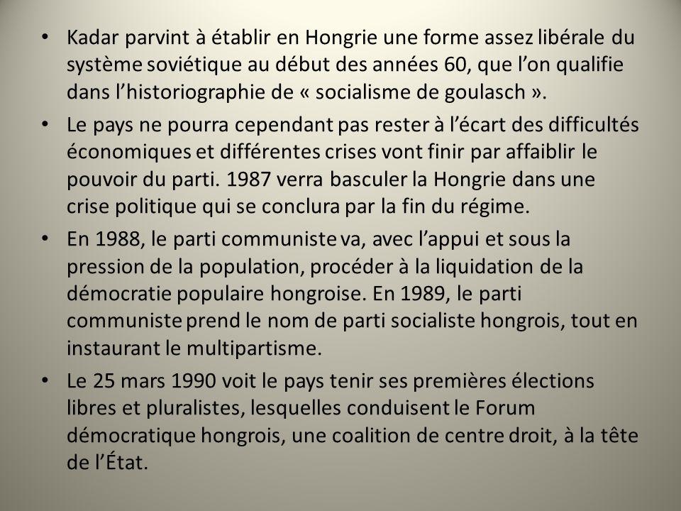 Kadar parvint à établir en Hongrie une forme assez libérale du système soviétique au début des années 60, que l'on qualifie dans l'historiographie de « socialisme de goulasch ».