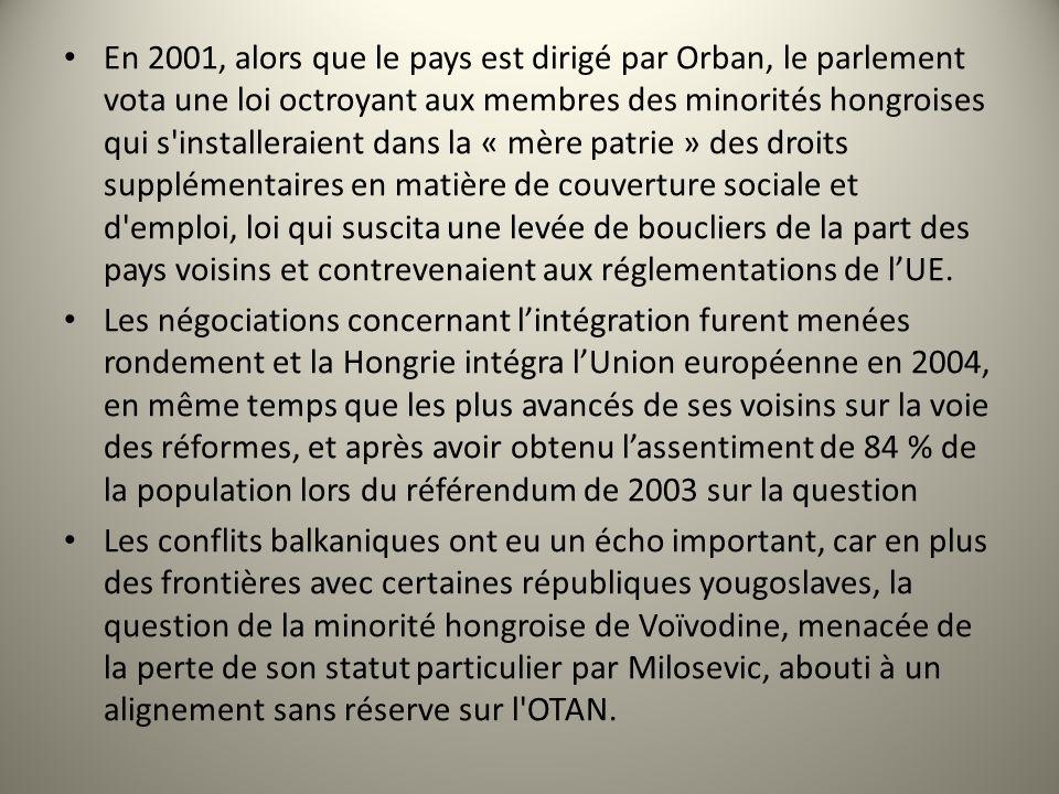 En 2001, alors que le pays est dirigé par Orban, le parlement vota une loi octroyant aux membres des minorités hongroises qui s installeraient dans la « mère patrie » des droits supplémentaires en matière de couverture sociale et d emploi, loi qui suscita une levée de boucliers de la part des pays voisins et contrevenaient aux réglementations de l'UE.