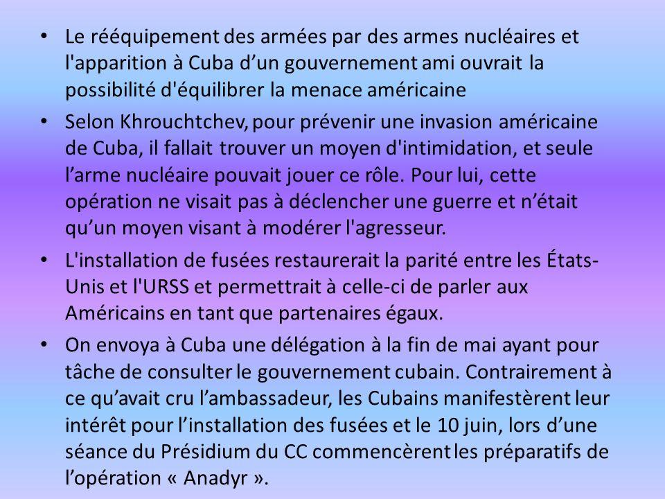 Le rééquipement des armées par des armes nucléaires et l apparition à Cuba d'un gouvernement ami ouvrait la possibilité d équilibrer la menace américaine