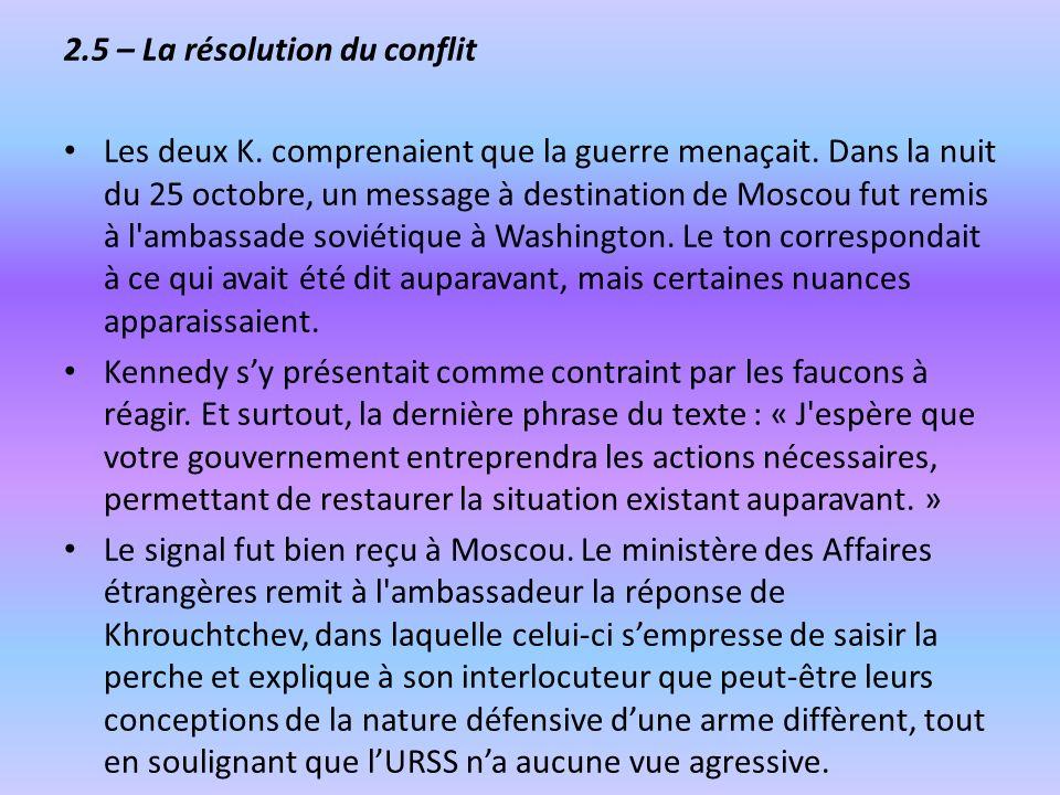 2.5 – La résolution du conflit