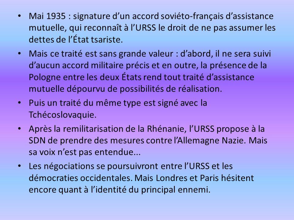 Mai 1935 : signature d'un accord soviéto-français d'assistance mutuelle, qui reconnaît à l'URSS le droit de ne pas assumer les dettes de l'État tsariste.