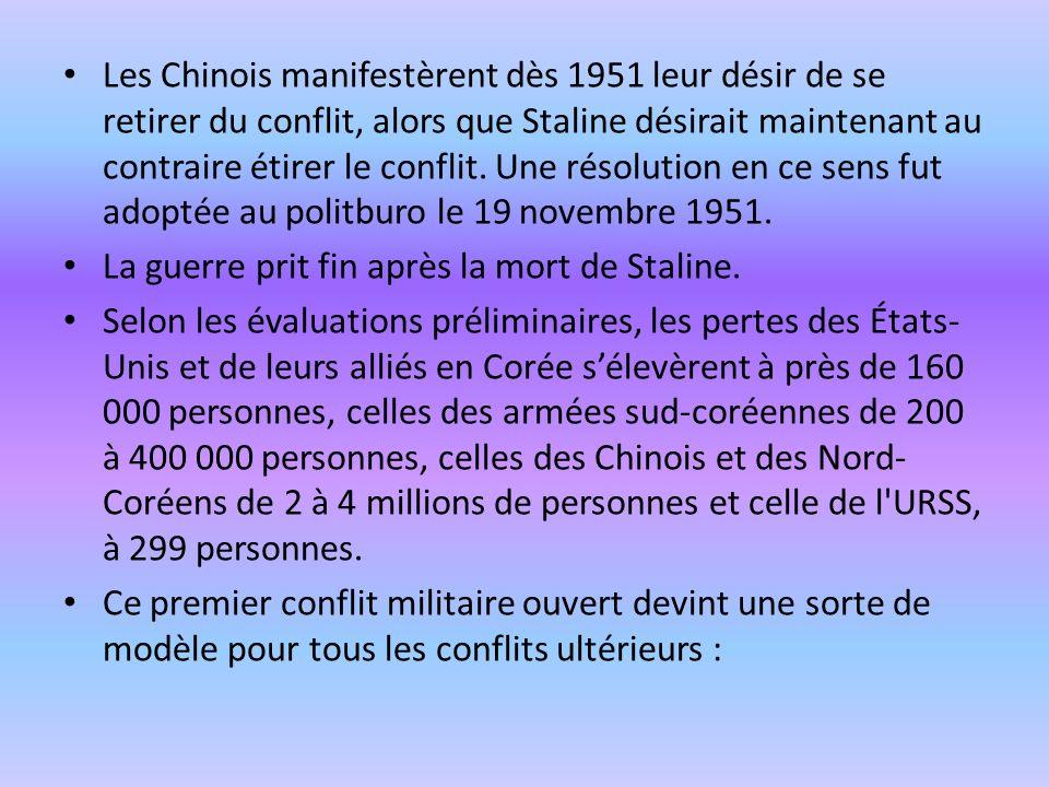 Les Chinois manifestèrent dès 1951 leur désir de se retirer du conflit, alors que Staline désirait maintenant au contraire étirer le conflit. Une résolution en ce sens fut adoptée au politburo le 19 novembre 1951.