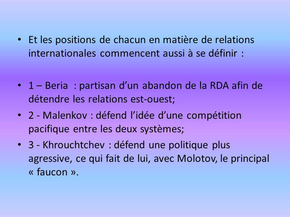 Et les positions de chacun en matière de relations internationales commencent aussi à se définir :