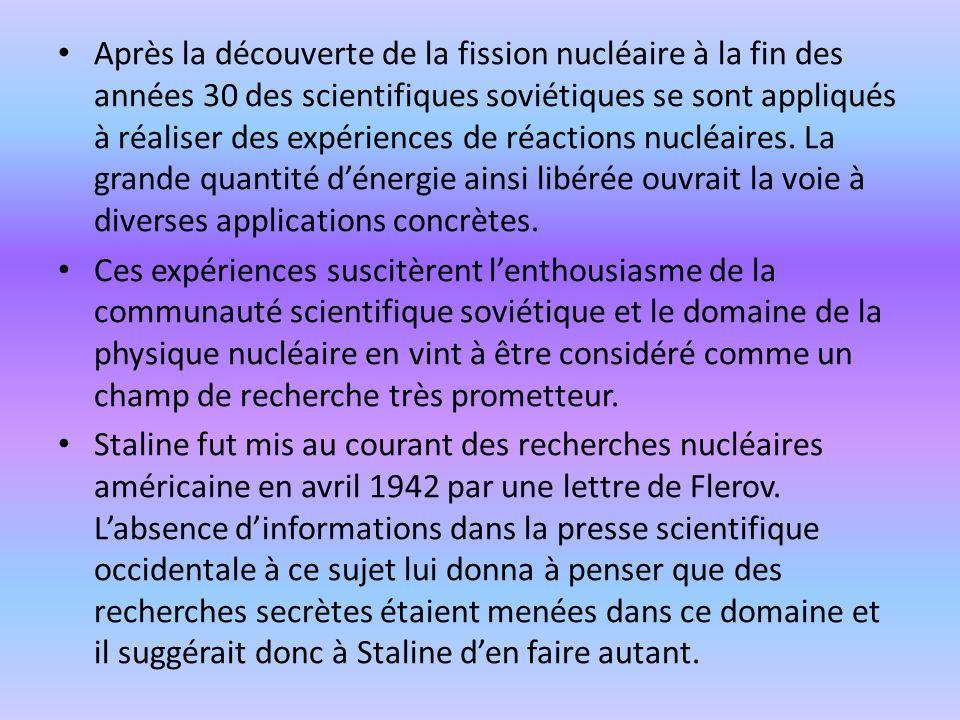 Après la découverte de la fission nucléaire à la fin des années 30 des scientifiques soviétiques se sont appliqués à réaliser des expériences de réactions nucléaires. La grande quantité d'énergie ainsi libérée ouvrait la voie à diverses applications concrètes.