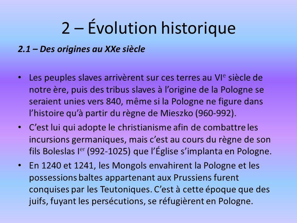 2 – Évolution historique