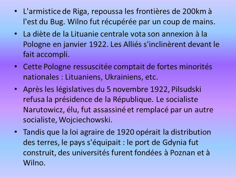 L armistice de Riga, repoussa les frontières de 200km à l est du Bug