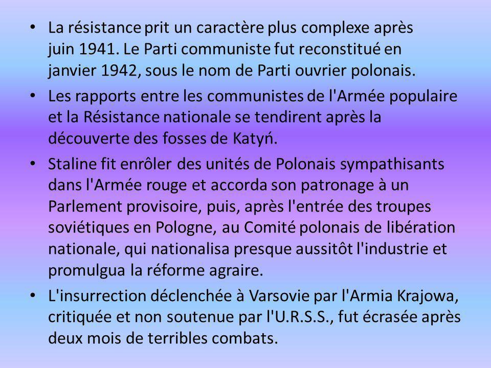 La résistance prit un caractère plus complexe après juin 1941