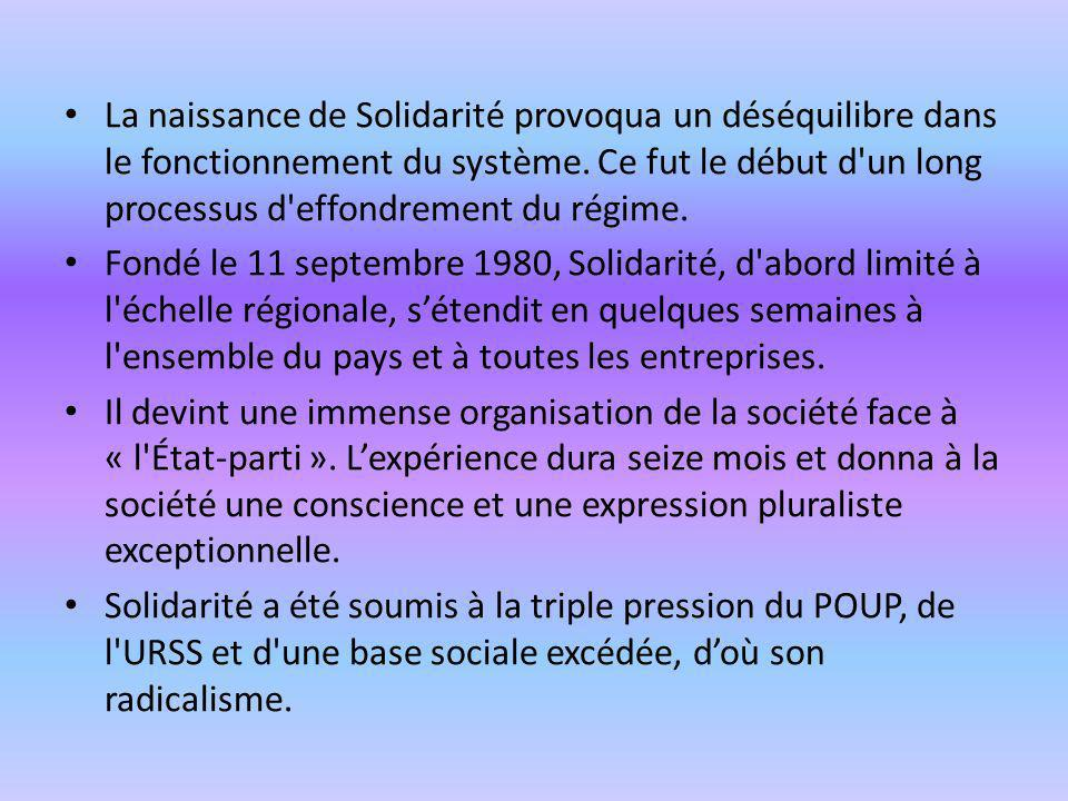 La naissance de Solidarité provoqua un déséquilibre dans le fonctionnement du système. Ce fut le début d un long processus d effondrement du régime.