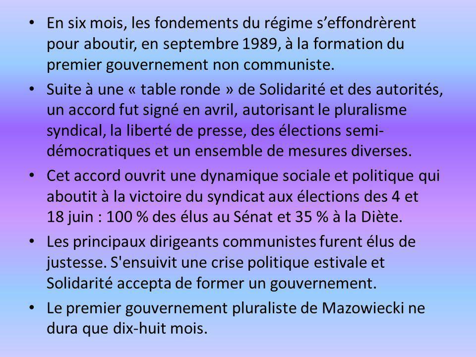 En six mois, les fondements du régime s'effondrèrent pour aboutir, en septembre 1989, à la formation du premier gouvernement non communiste.