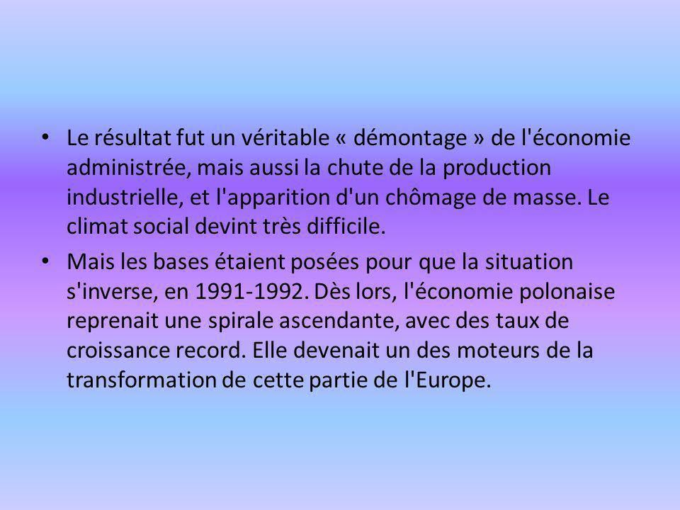 Le résultat fut un véritable « démontage » de l économie administrée, mais aussi la chute de la production industrielle, et l apparition d un chômage de masse. Le climat social devint très difficile.