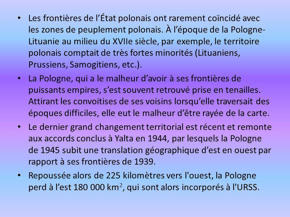 Les frontières de l'État polonais ont rarement coïncidé avec les zones de peuplement polonais. À l'époque de la Pologne-Lituanie au milieu du XVIIe siècle, par exemple, le territoire polonais comptait de très fortes minorités (Lituaniens, Prussiens, Samogitiens, etc.).