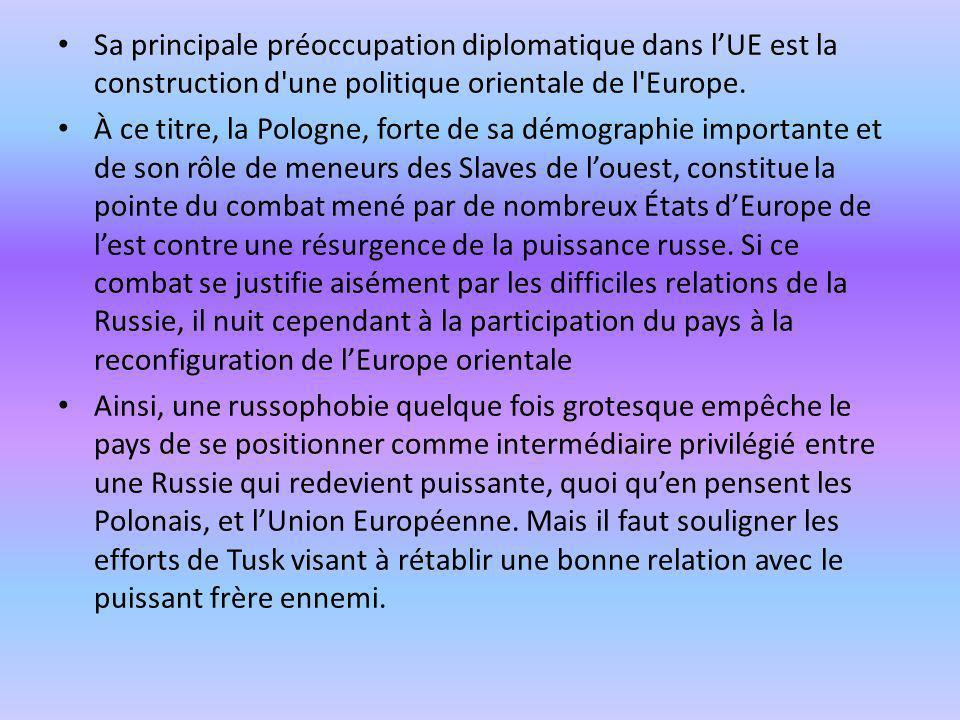 Sa principale préoccupation diplomatique dans l'UE est la construction d une politique orientale de l Europe.