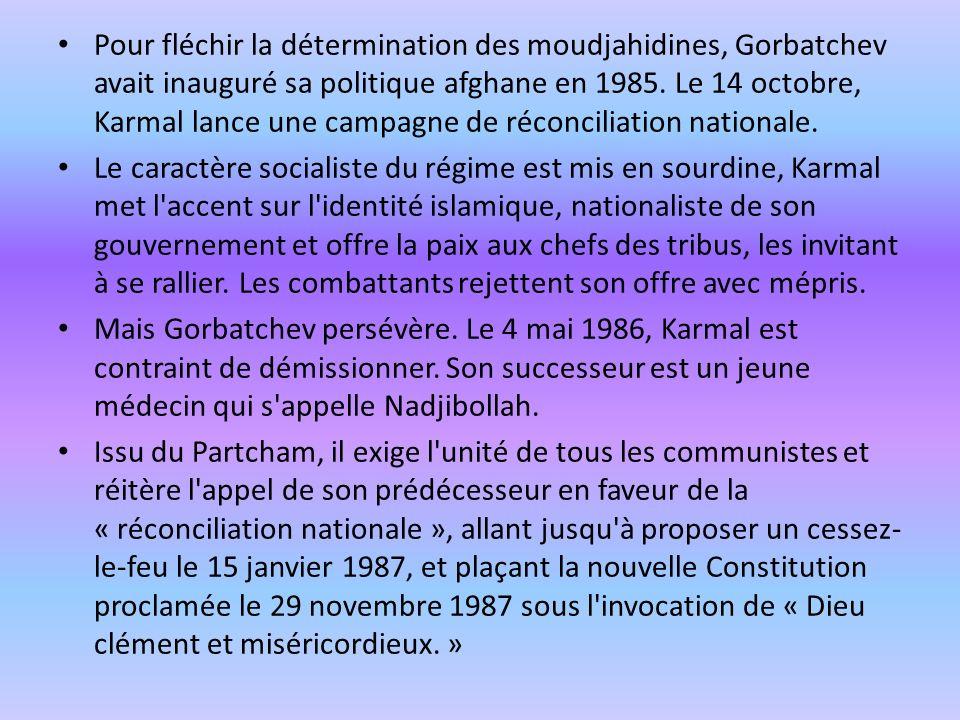 Pour fléchir la détermination des moudjahidines, Gorbatchev avait inauguré sa politique afghane en 1985. Le 14 octobre, Karmal lance une campagne de réconciliation nationale.