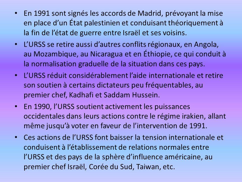 En 1991 sont signés les accords de Madrid, prévoyant la mise en place d'un État palestinien et conduisant théoriquement à la fin de l'état de guerre entre Israël et ses voisins.