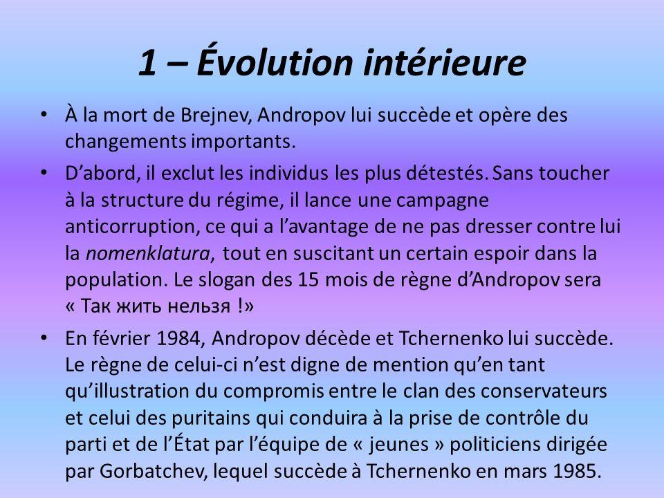 1 – Évolution intérieure