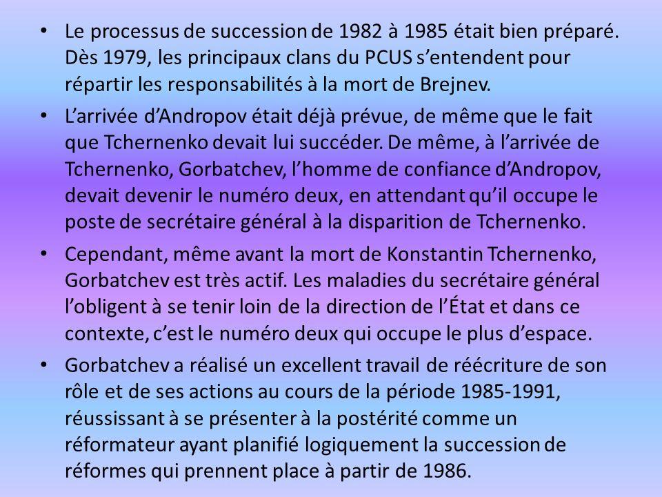 Le processus de succession de 1982 à 1985 était bien préparé