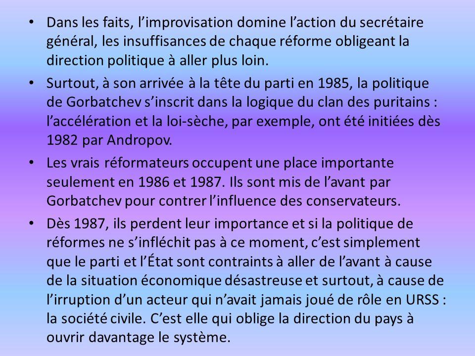 Dans les faits, l'improvisation domine l'action du secrétaire général, les insuffisances de chaque réforme obligeant la direction politique à aller plus loin.