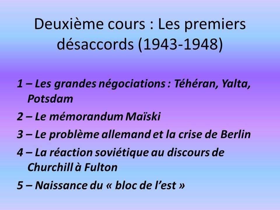 Deuxième cours : Les premiers désaccords (1943-1948)
