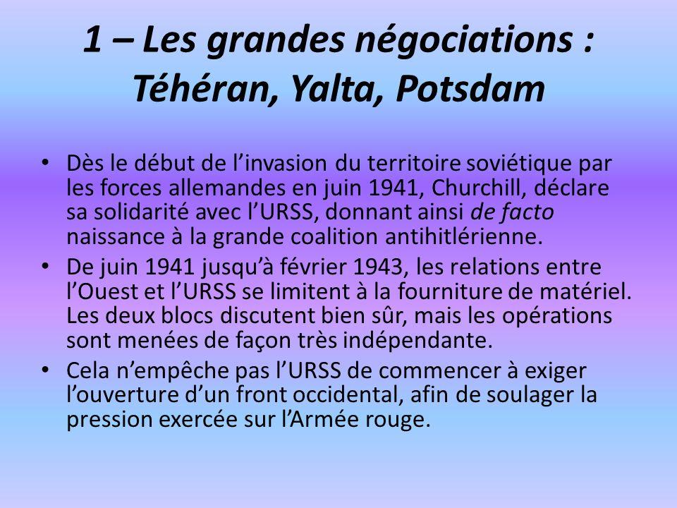1 – Les grandes négociations : Téhéran, Yalta, Potsdam