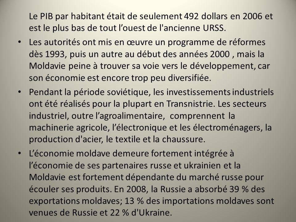 Le PIB par habitant était de seulement 492 dollars en 2006 et est le plus bas de tout l'ouest de l ancienne URSS.