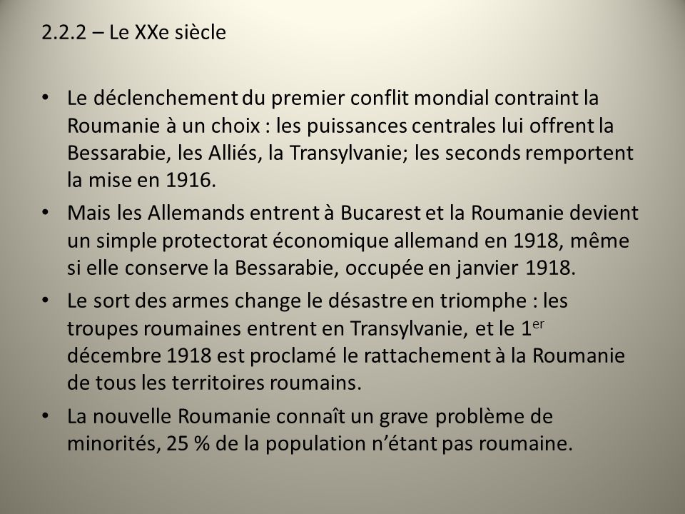 2.2.2 – Le XXe siècle