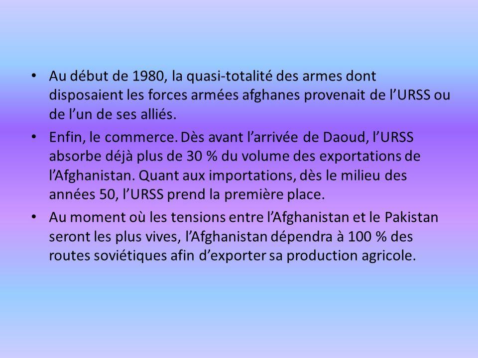 Au début de 1980, la quasi-totalité des armes dont disposaient les forces armées afghanes provenait de l'URSS ou de l'un de ses alliés.