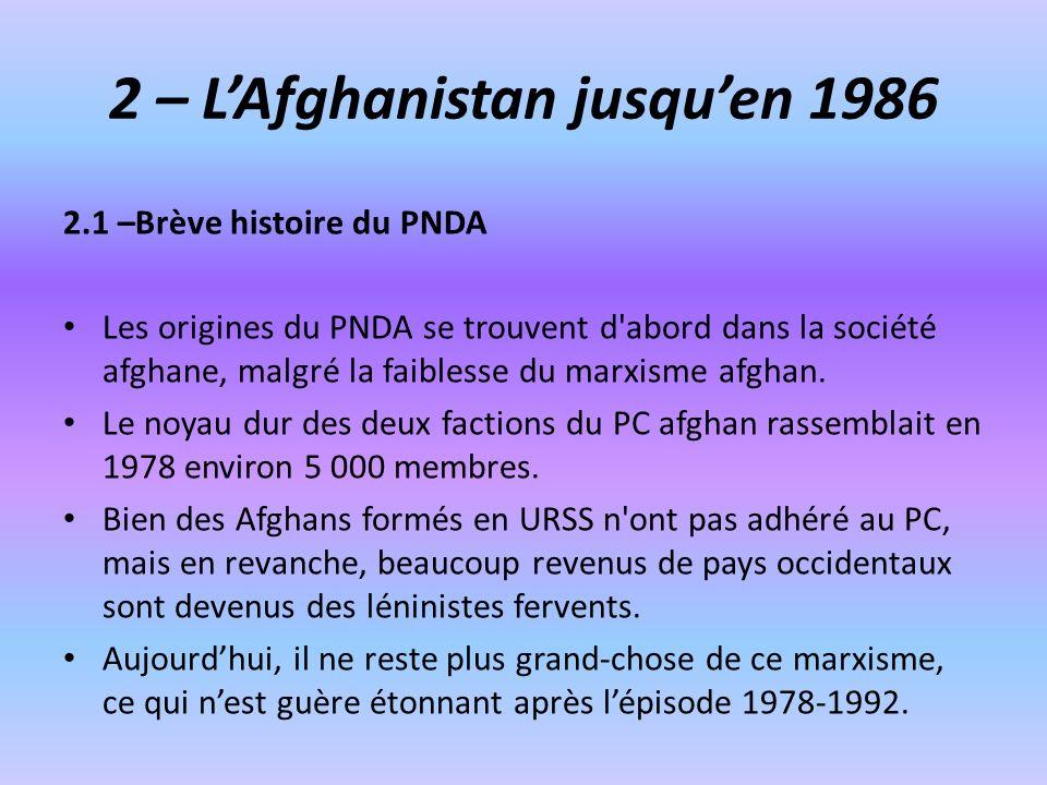 2 – L'Afghanistan jusqu'en 1986