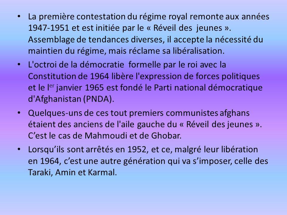 La première contestation du régime royal remonte aux années 1947-1951 et est initiée par le « Réveil des jeunes ». Assemblage de tendances diverses, il accepte la nécessité du maintien du régime, mais réclame sa libéralisation.