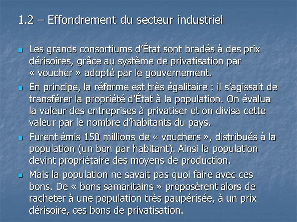 1.2 – Effondrement du secteur industriel