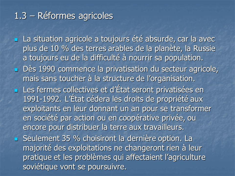 1.3 – Réformes agricoles