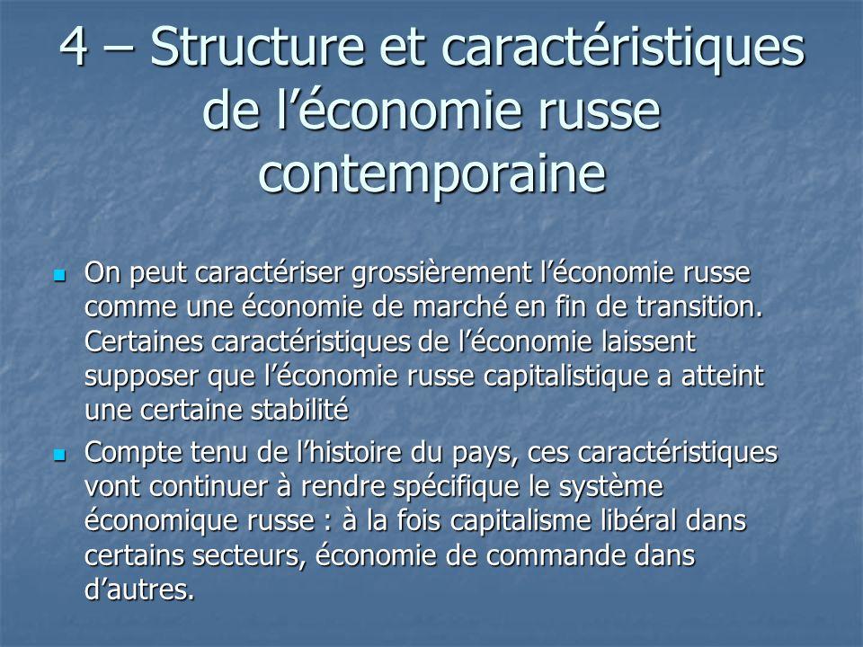 4 – Structure et caractéristiques de l'économie russe contemporaine