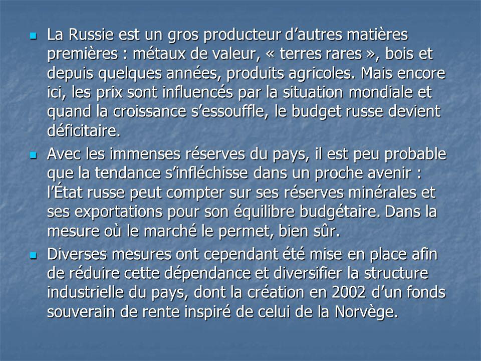 La Russie est un gros producteur d'autres matières premières : métaux de valeur, « terres rares », bois et depuis quelques années, produits agricoles. Mais encore ici, les prix sont influencés par la situation mondiale et quand la croissance s'essouffle, le budget russe devient déficitaire.