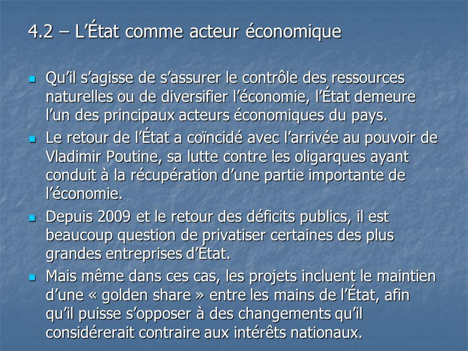 4.2 – L'État comme acteur économique