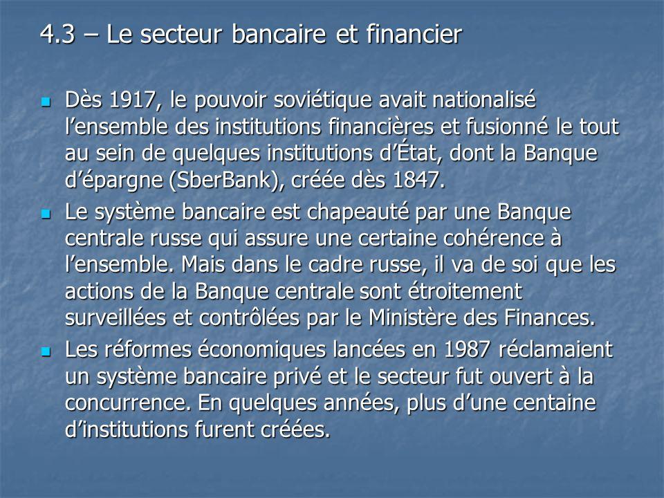 4.3 – Le secteur bancaire et financier