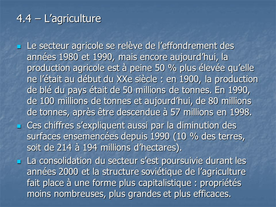 4.4 – L'agriculture