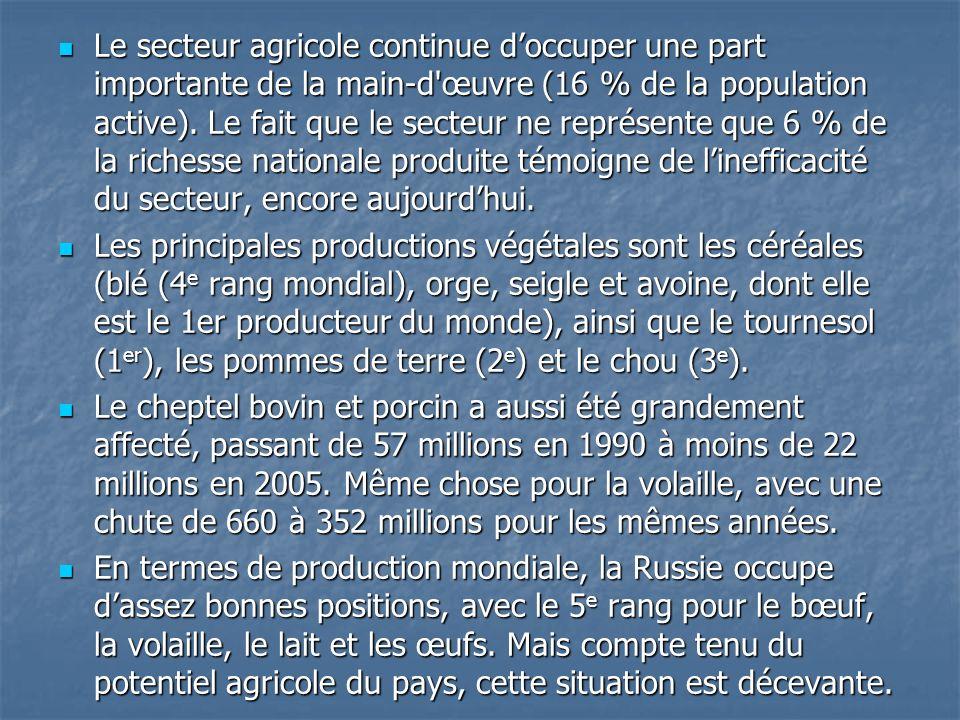 Le secteur agricole continue d'occuper une part importante de la main-d œuvre (16 % de la population active). Le fait que le secteur ne représente que 6 % de la richesse nationale produite témoigne de l'inefficacité du secteur, encore aujourd'hui.