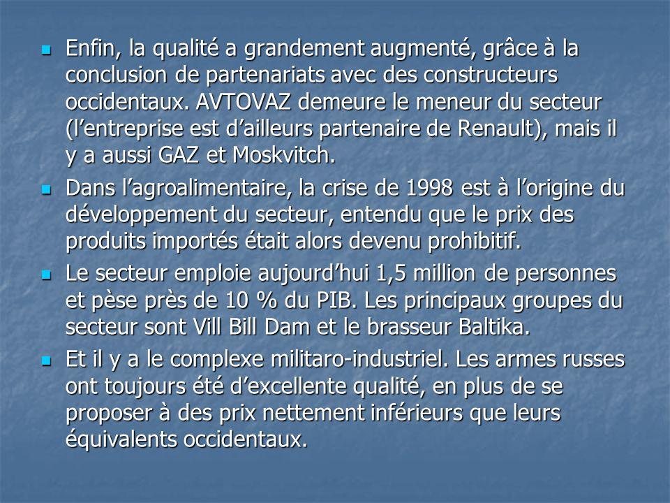 Enfin, la qualité a grandement augmenté, grâce à la conclusion de partenariats avec des constructeurs occidentaux. AVTOVAZ demeure le meneur du secteur (l'entreprise est d'ailleurs partenaire de Renault), mais il y a aussi GAZ et Moskvitch.