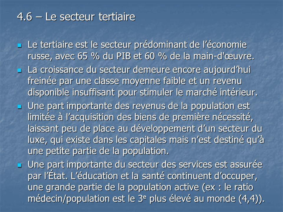 4.6 – Le secteur tertiaire Le tertiaire est le secteur prédominant de l'économie russe, avec 65 % du PIB et 60 % de la main-d œuvre.