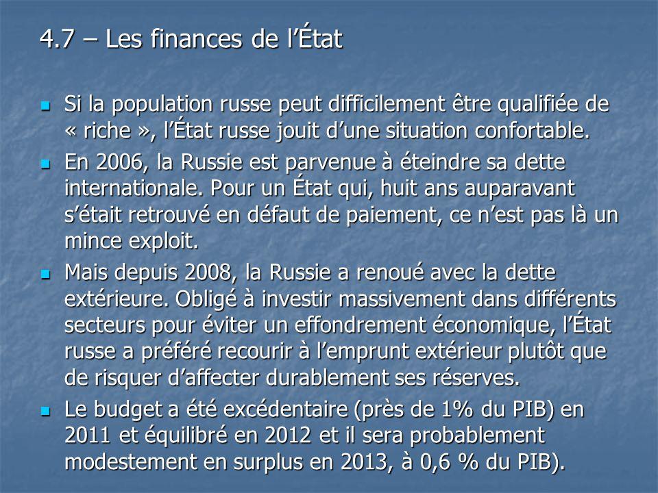 4.7 – Les finances de l'État